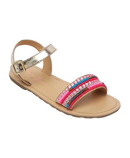 Aria Nica Color Embellished Sandals - Golden Multi Color