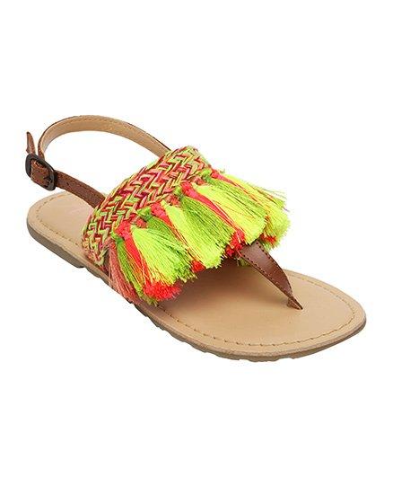 Aria Nica Tasselled Sandals - Green