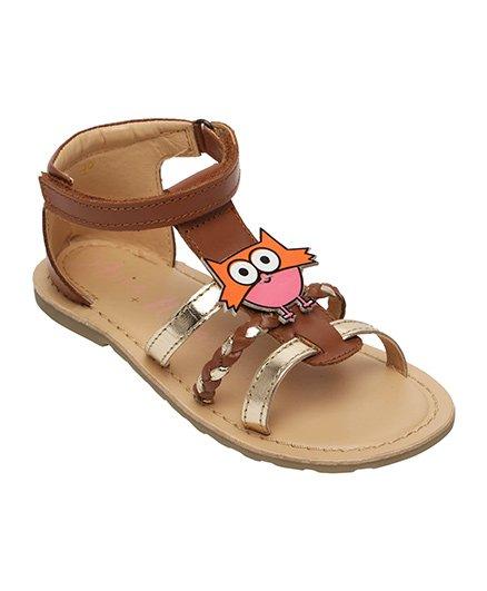 Aria Nica Owl Motif Embellished Sandals - Brown