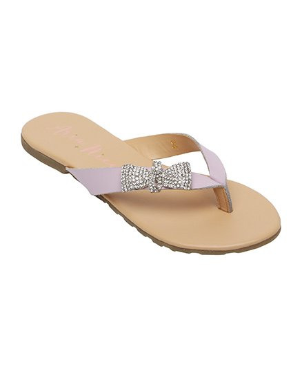 Aria Nica Bow Studded Flip Flop - Lilac
