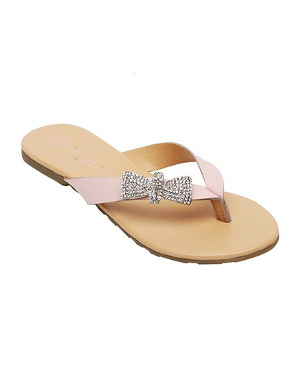 Aria Nica Bow Studded Flip Flop - Pink