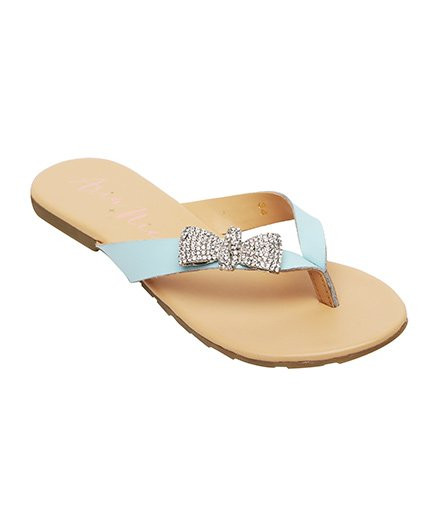 Aria Nica Bow Studded Flip Flop - Blue