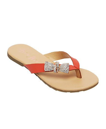 Aria Nica Bow Studded Flip Flop - Coral