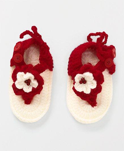 Mayra Knits Rose Sandals - Cream & Red