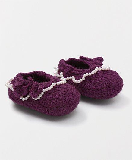 Mayra Knits Pearl Booties - Purple