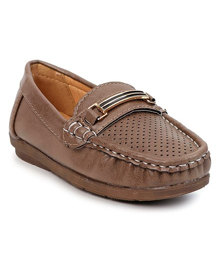Cute Walk By Babyhug Party Wear Loafer Shoes - Light Brown