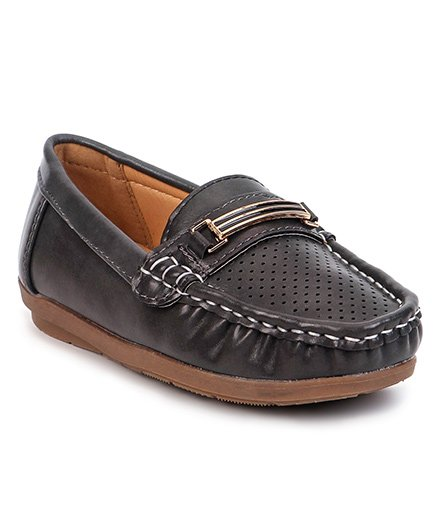 Cute Walk By Babyhug Party Wear Loafer Shoes - Dark Grey