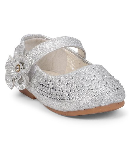 Cute Walk by Babyhug Studded Belly Shoes With Flower Motif - Silver