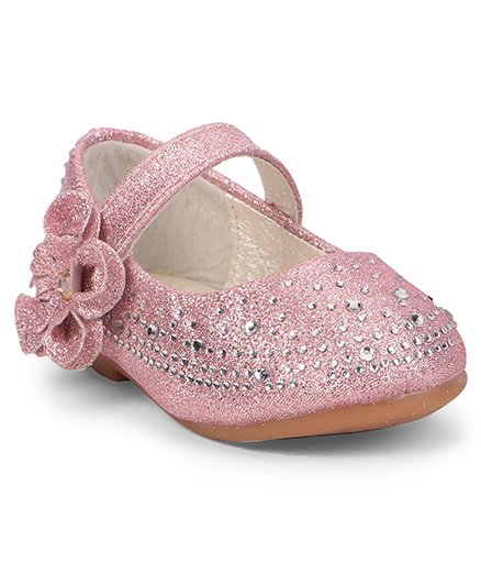 Cute Walk by Babyhug Studded Belly Shoes With Flower Motif - Pink