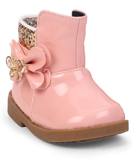 Cute Walk by Babyhug Ankle Length Boots Flower With Butterfly Motif - Light Pink