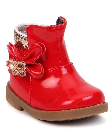 Cute Walk by Babyhug Ankle Length Boots Flower With Butterfly Motif - Red