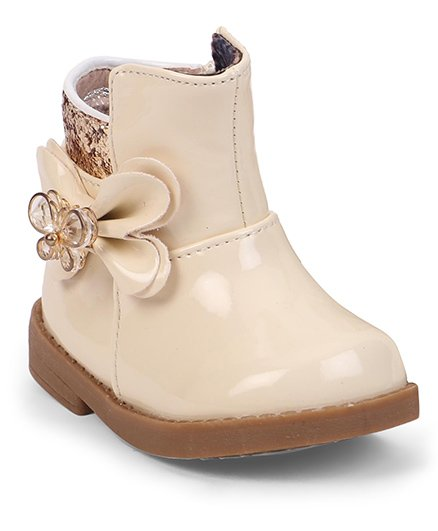 Cute Walk by Babyhug Ankle Length Boots Flower With Butterfly Motif - Cream