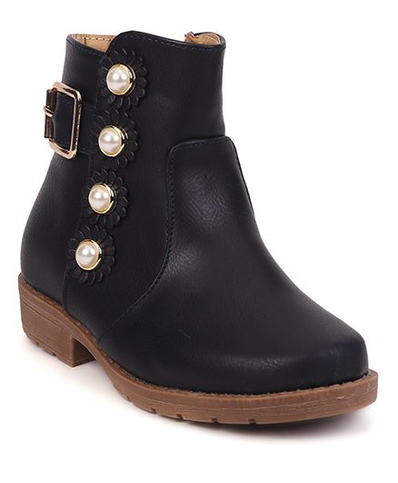 Cute Walk by Babyhug Ankle Length Boots Flower With Pearl Motif - Dark Navy Blue