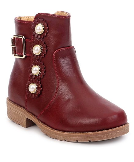 Cute Walk by Babyhug Ankle Length Boots Flower With Pearl Motif - Maroon