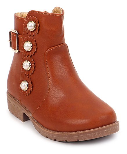 Cute Walk by Babyhug Ankle Length Boots Flower With Pearl Motif - Brown