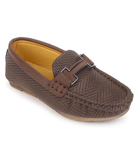 Cute Walk By Babyhug Designer Loafer Shoes - Dark Brown
