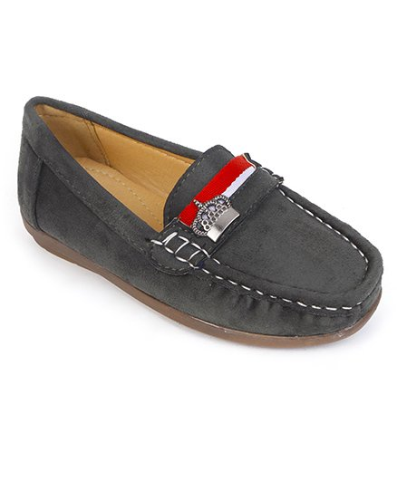 Cute Walk By Babyhug Designer Loafer Shoes King Motif - Grey