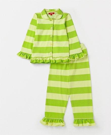 Olele Ruffled Striped Night Suit - Green