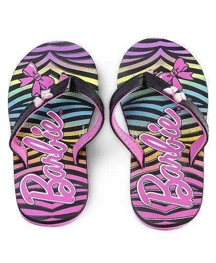 Barbie Flip Flops Printed - Pink & Black