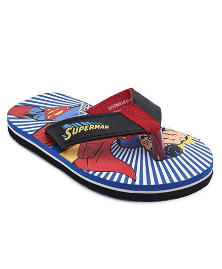 Superman Printed Flip Flops With Back Strap - Blue & Red