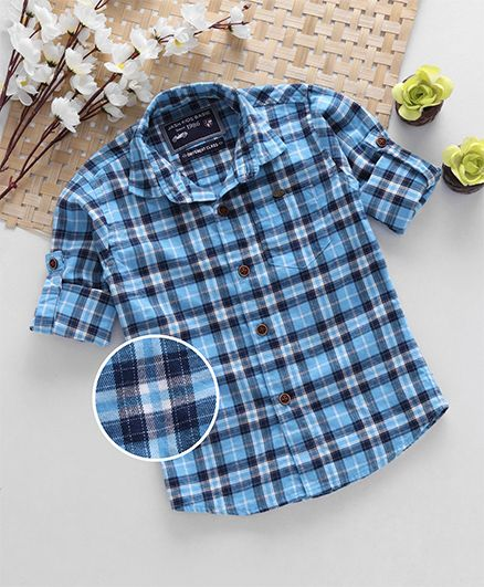 Jash Kids Full Sleeves Checks Shirt - Blue