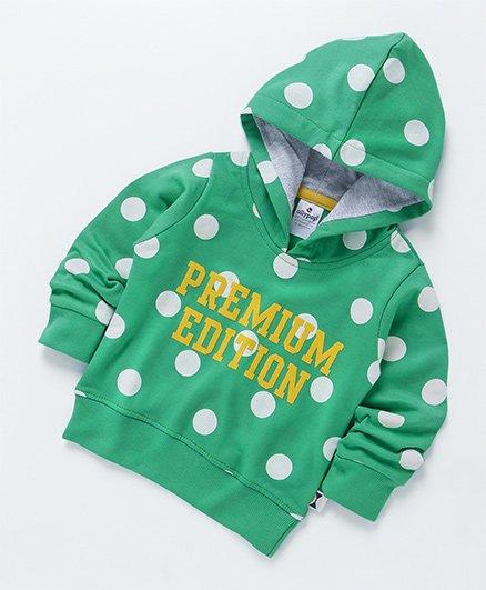 Ollypop Full Sleeves Hooded Polka Dot Sweatshirt - Green