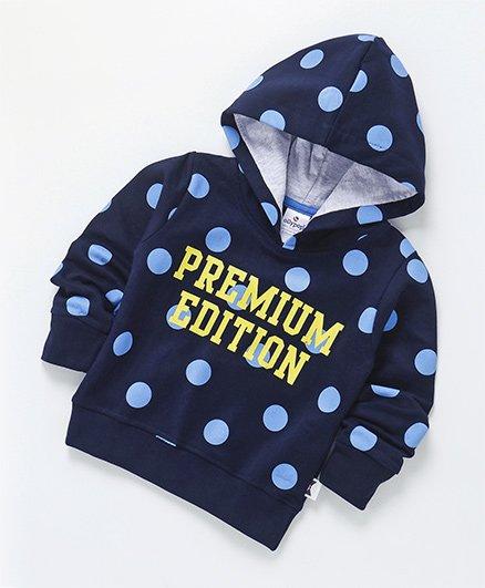 Ollypop Full Sleeves Hooded Polka Dot Sweatshirt - Navy Blue