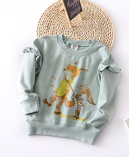 Pre Order - Awabox Fox Print Sweatshirt - Green