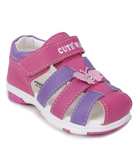 Cute Walk by Babyhug Sandals Butterfly Motif - Pink Purple