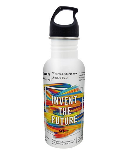 Hot Muggs Stainless Steel Water Bottle Invent The Future Print - 600 ml