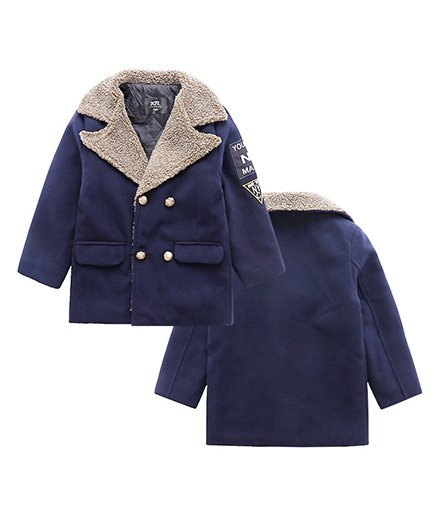 Pre Order - Awabox Buttoned Trench Coat - Navy Blue