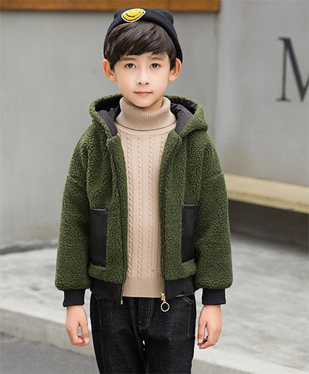 Pre Order - Awabox Woollen Hooded Jacket - Green