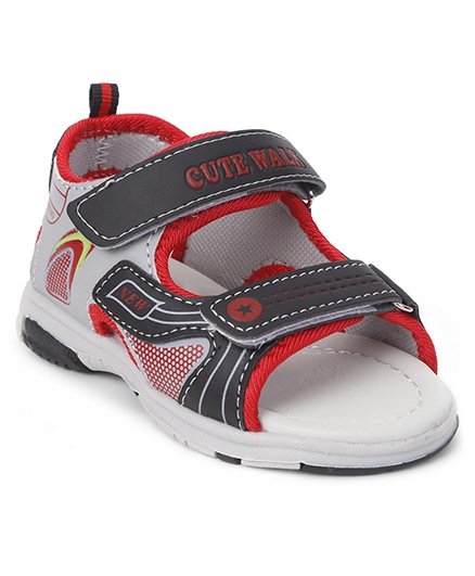 Cute Walk by Babyhug Sandals - Black Grey Red