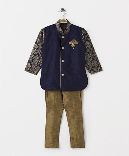 Rikidoos Ethnic Buttoned Kurta With Jodhpuri Pants - Navy Blue