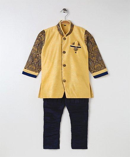 Rikidoos Ethnic Kurta With Jodhpuri Pants - Yellow
