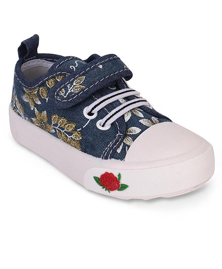 Cute Walk by Babyhug Canvas Shoes Floral Embroidery & Rose Patch - Navy Blue