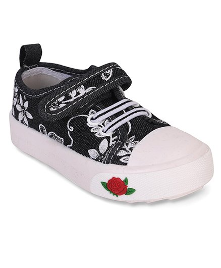 Cute Walk by Babyhug Canvas Shoes Floral Embroidery & Rose Patch - Black