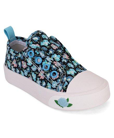 Cute Walk by Babyhug Shoes Floral Print - Blue & White