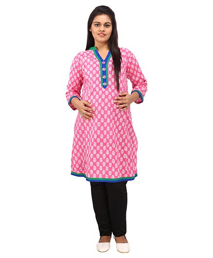 Mamma's Maternity Three Fourth Sleeves Nursing Kurti Floral Print - Pink