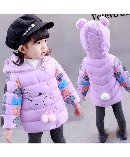 Pre Order - Awabox Mushroom Printed Puffer Jacket - Purple
