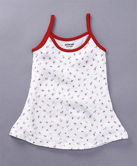 Doreme Singlet Slip Allover Floral Print - White & Red