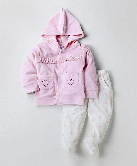 Wonderchild Cute Buttoned Hoodie Set - Pink & White