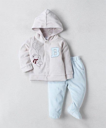 Wonderchild Teddy Applique Full Sleeves Hoodie With Pyajama - Cream & Blue