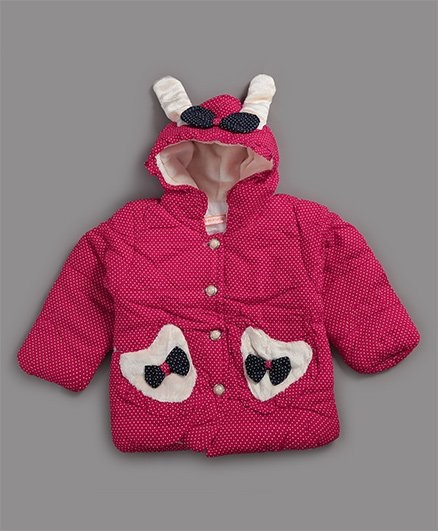 Zonko Style Bunny & Big Polka Dot Printed Jacket - Dark Pink