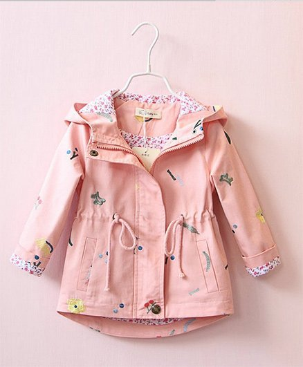 Pre Order - Awabox Flower Embroided Hooded Jacket - Pink
