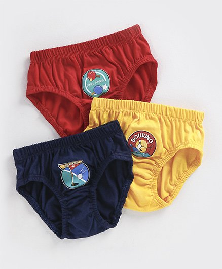 Simply Briefs Pack of 3 - Red Yellow Navy Blue