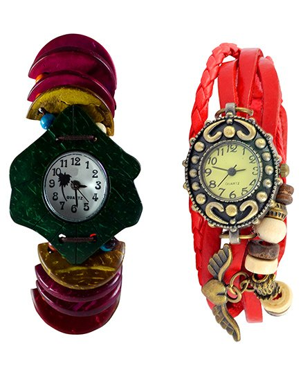 Angel Glitter Casual Wear On Weekend Combo Of Organic Two Watches - Multicolour