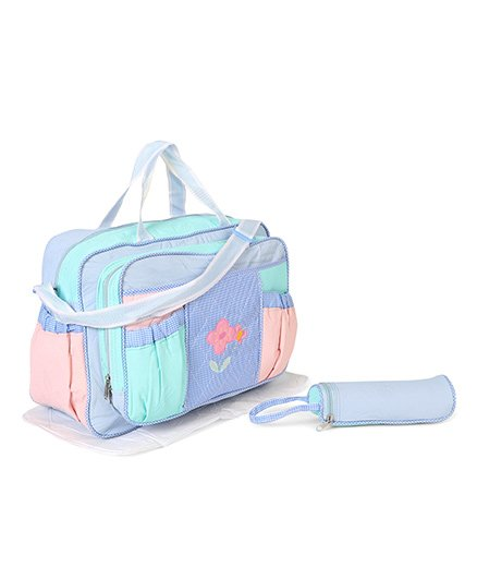 Diaper Bag With Bottle Cover Dinosaur Embroidery - Blue
