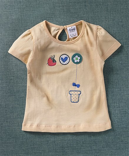 Simply Half Sleeves Top Strawberry & Flower Patch - Cream