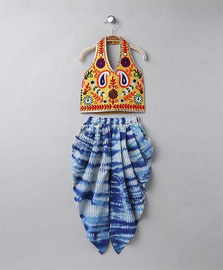 Twisha Shibori Dhoti With Halter Neck Aari Embroidery Top - Yellow & Blue